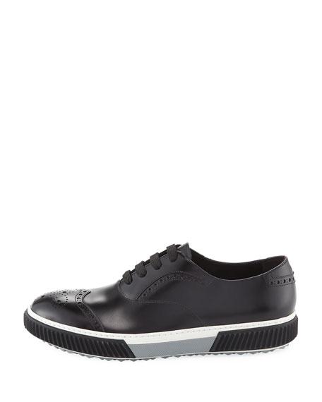 Spazzolato Leather Platform Brogue Sneaker, Black