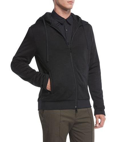 Zip-Front Cotton-Blend Hoodie