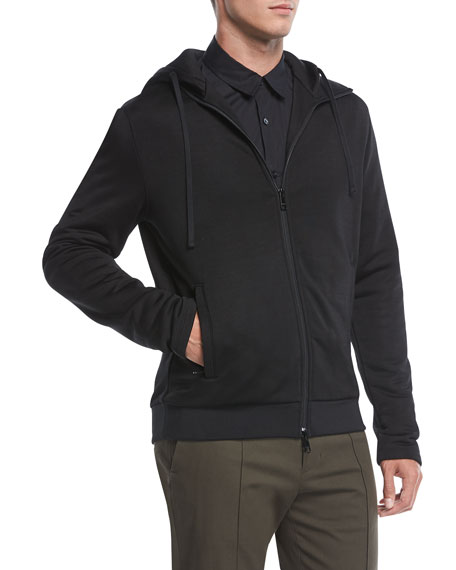 Zip-Front Cotton-Blend Hoodie