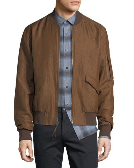 Classic Linen-Blend Bomber Jacket
