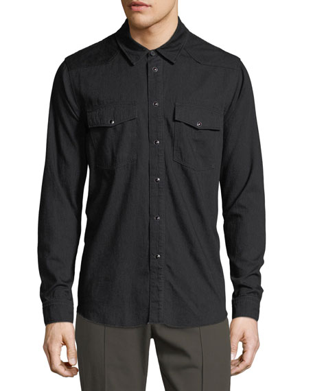 Solid Cotton Western Shirt