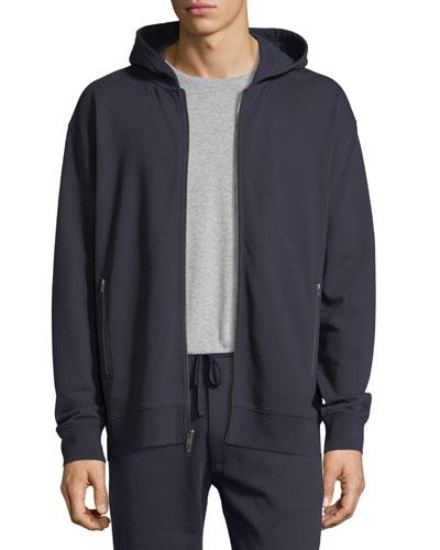Zip-Pocket Cotton Hoodie