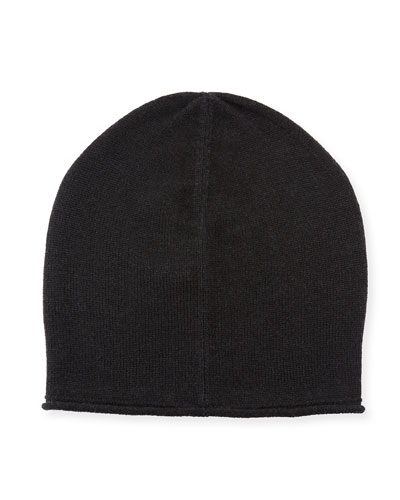 Cashmere-Blend Solid Beanie Hat