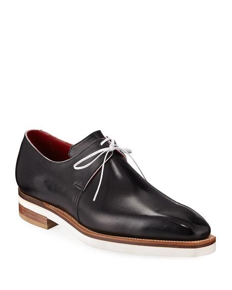 CORTHAY Arca Contrast-Sole Derby Shoe in Black