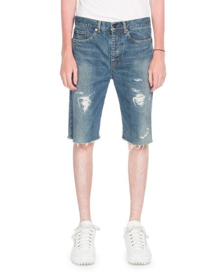 c1172296f9 Saint Laurent Distressed Denim Bermuda Shorts