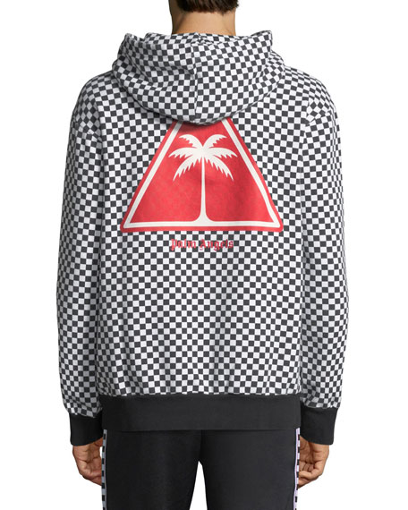 Checked Fleece Pullover Hoodie