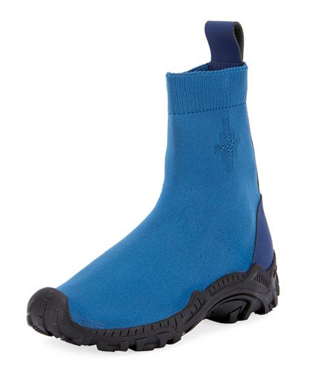 Fly-Knit Sock Boot Sneaker, Blue