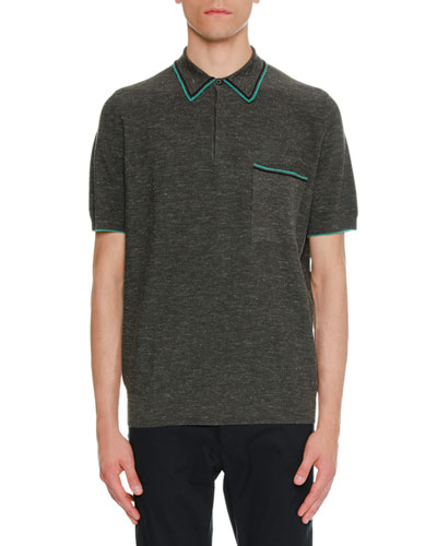 Contrast-Trim Piqué Polo Shirt