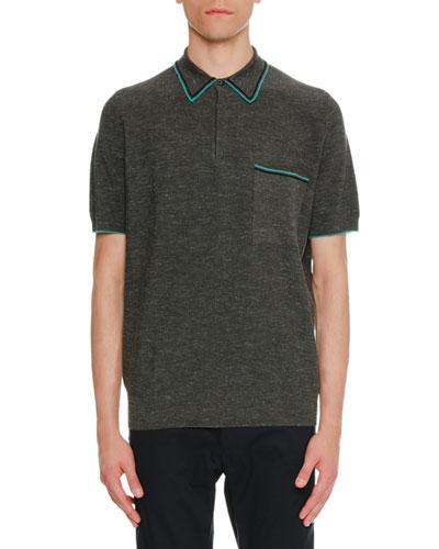 Contrast-Trim Piqué Polo Shirt