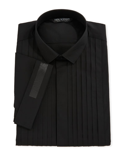 Pleated-Bib Short-Sleeve Tuxedo Shirt
