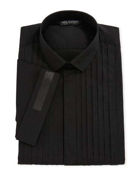 Pleated-Bib Short-Sleeve Tuxedo Shirt