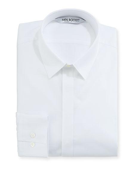 Modernist Mixed Texture Dress Shirt