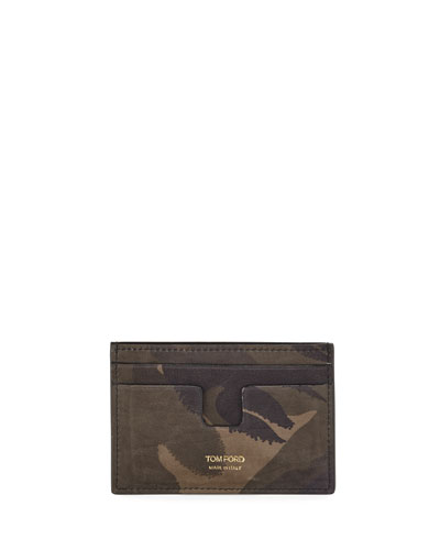 Camouflage-Print Leather Card Holder