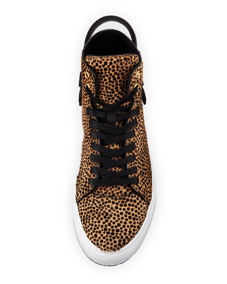 Men's 100mm Leopard Calf Hair High-Top Sneaker