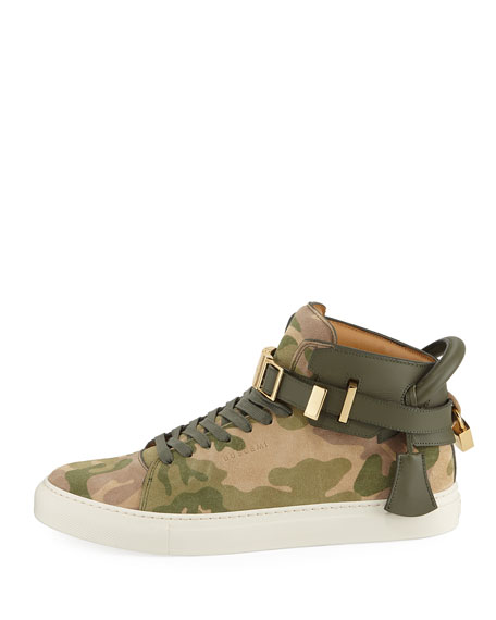 Men's Camo-Print High-Top Sneakers