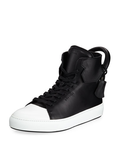 Men's 125mm Leather High-Top Sneaker, Black/White
