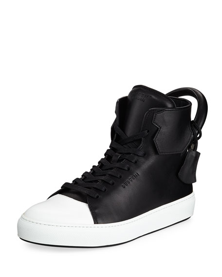 Men's 125mm Leather High-Top Sneakers, Black/White