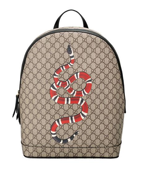 0d9beaaef1c Gucci Snake-Print GG Supreme Backpack