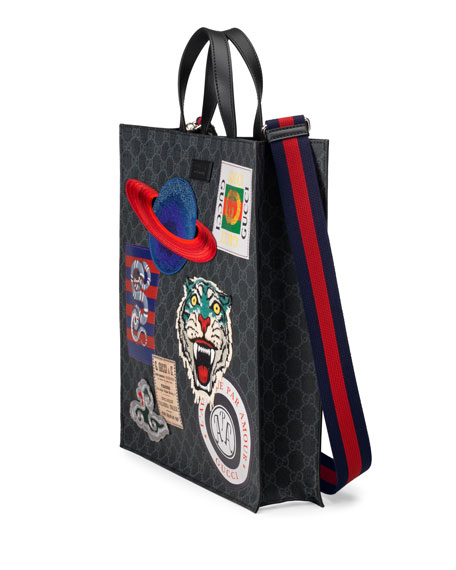 Gucci Men s GG Supreme Tote Bag with Patches 5dd7eedb5b50f