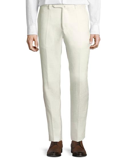 Incotex Pants LINEN FLAT-FRONT STRAIGHT-LEG PANTS