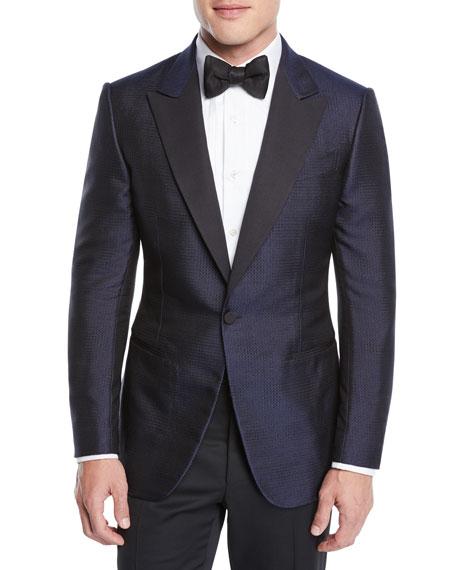 Ermenegildo Zegna Men's Dotted Shawl-Collar Tuxedo Jacket
