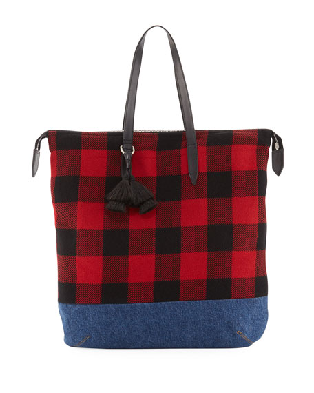 Buffalo Plaid & Denim Tote Bag