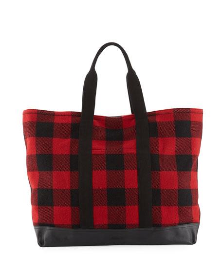 Men's Buffalo Check Shopper Tote Bag