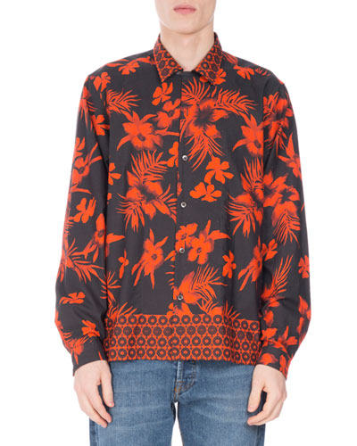 Camron Square-Cut Tropical-Print Shirt