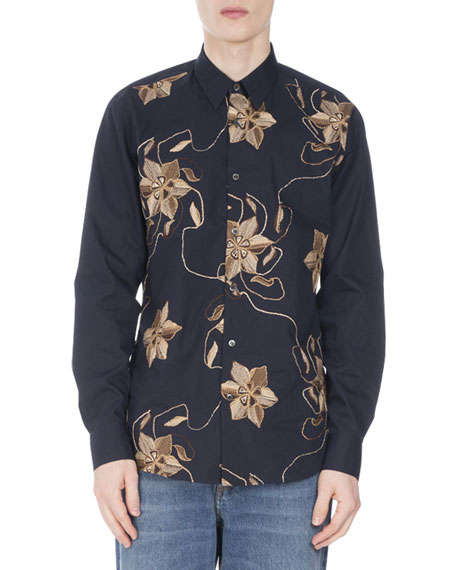 Curley Floral-Embroidered Shirt