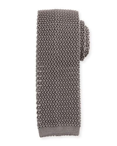Silk Knit Flat-End Skinny Tie, Dark Gray