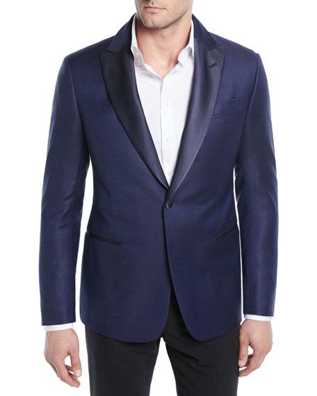 Giorgio Armani Herringbone Satin-Lapel Dinner Jacket