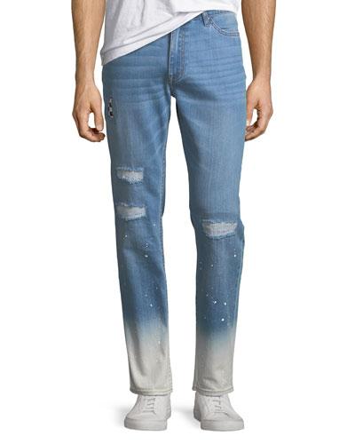 Slim-Leg Checker Jeans