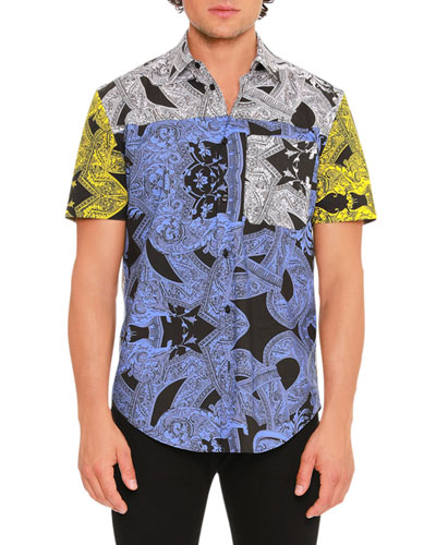 Barrocco Istante Printed Short-Sleeve Sport Shirt