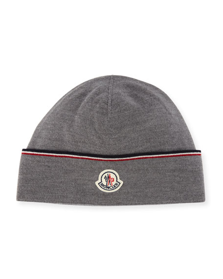Moncler Wool Striped Logo Beanie Hat