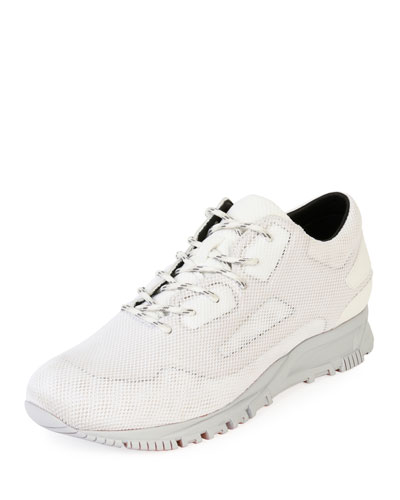 Mesh-Overlay Leather Running Sneaker
