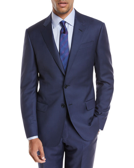 Pinstriped Wool Two-Piece Suit