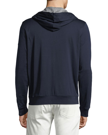 Contrast-Lined Henley Hoodie