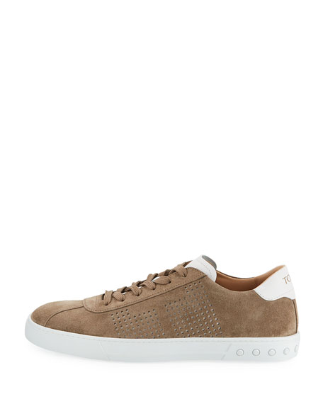 Perforated Suede Low-Top Sneaker