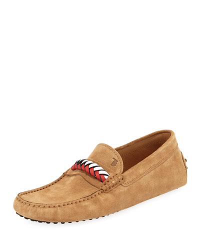 Braided-Vamp Suede Driver, Tan