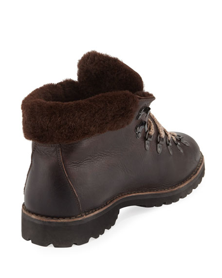 Fur-Trim Leather Lace-Up Boot