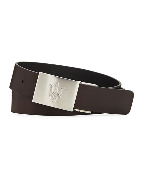 Leather Belt with Maserati Plaque Buckle