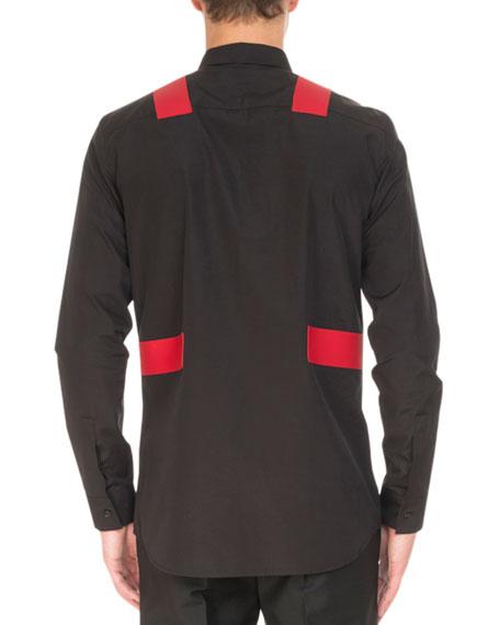 Contrast-Panel Long-Sleeve Shirt