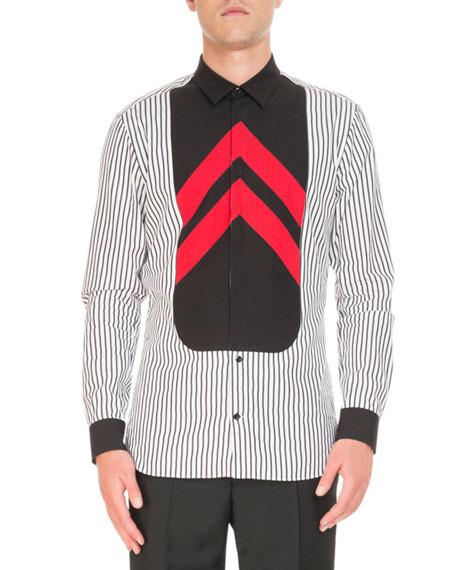 Striped Contrast-Bib Shirt