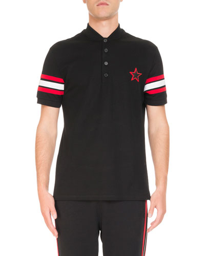 Banded-Cuff Logo-Print Polo Shirt
