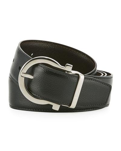 Men's Stamped Leather Gancio Buckle Belt