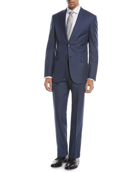 Multi-Striped Two-Piece Wool-Blend Suit