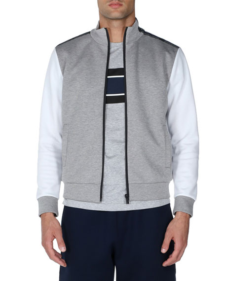 Colorblock Striped-Trim Zip-Front Sweater