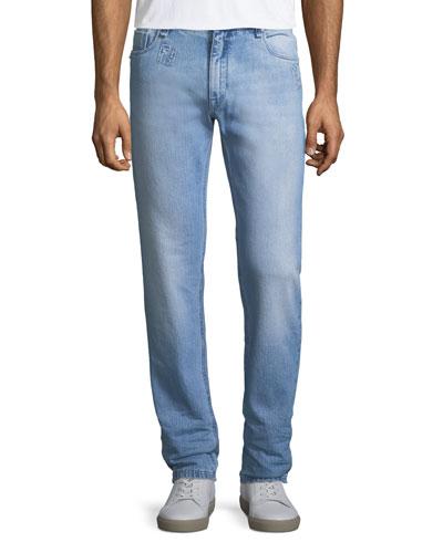 Logo-Patch Slim-Leg Jeans
