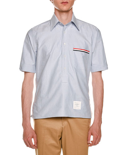 Short-Sleeve Stripe-Pocket Shirt