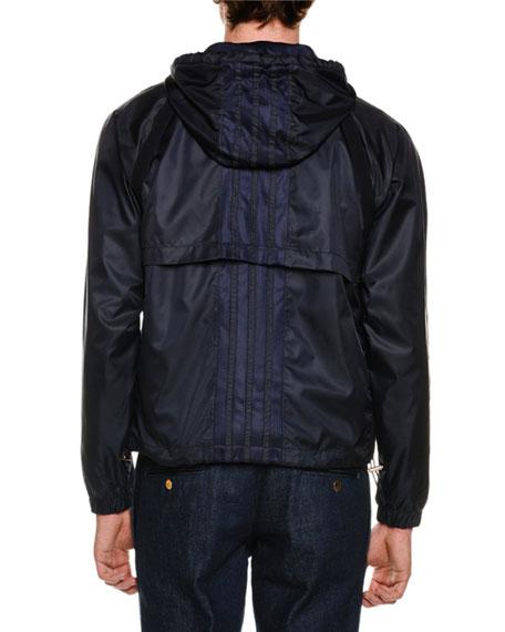 Mesh Zip-Front Hoodie Jacket